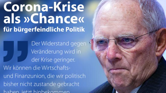 """Wolfgang Schäuble: """"wenn die Krise größer wird, werden die Fähigkeiten Veränderungen durchzusetzen größer"""""""